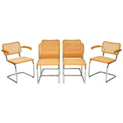 Set of Six Vintage Cesca Dining Chairs by Marcel Breuer for Fasem