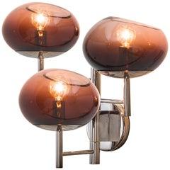 Donghia Renaldo Three-Arm Sconce, Murano Glass in Satin Cognac & Smoke