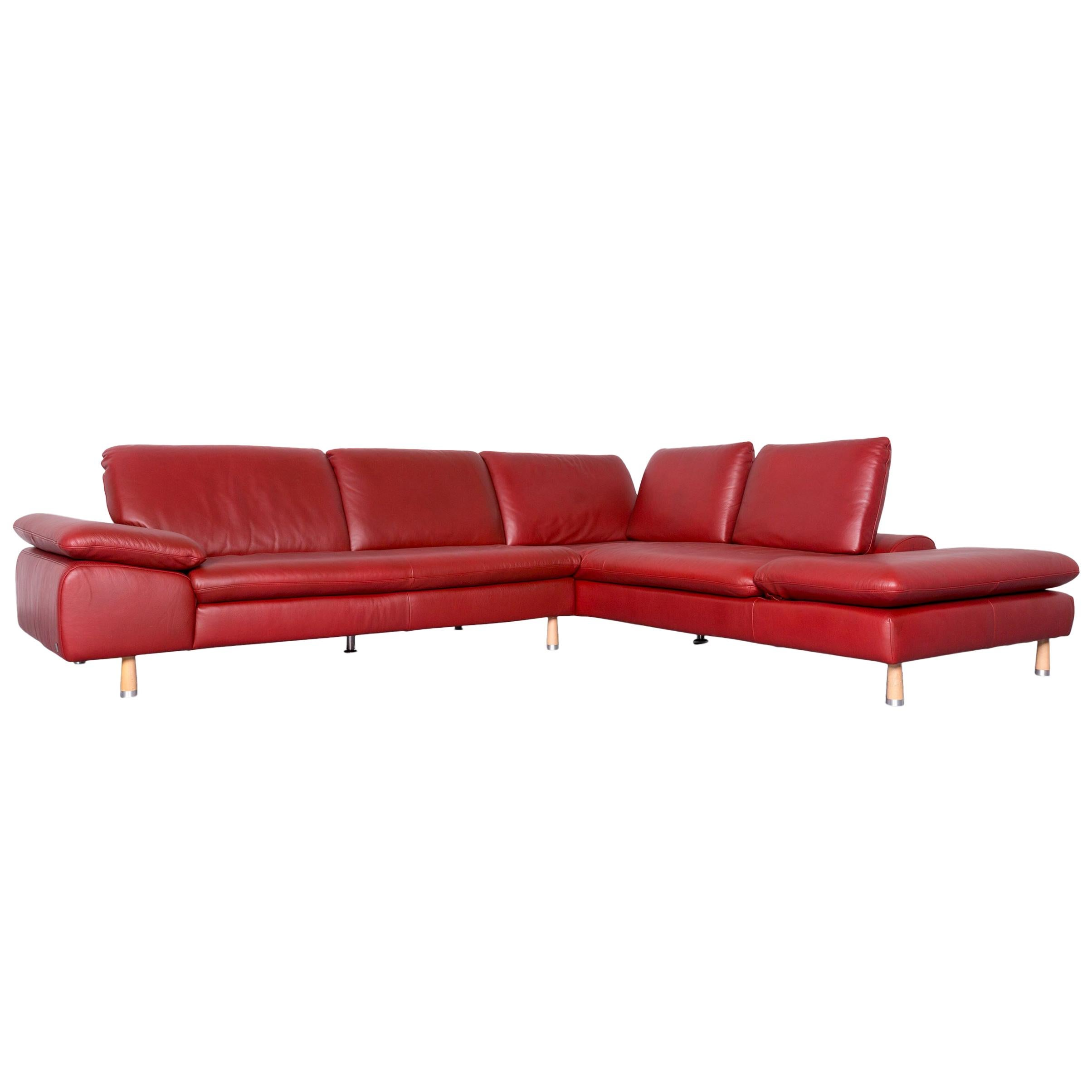 Willi Schillig Designer Leather Corner Sofa Red Corner Couch For Sale