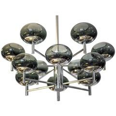 Donghia Renaldo Twelve-Arm Chandelier, Murano Glass in Smoke and Chrome