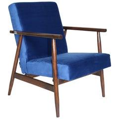 Polish Vintage Armchairs in Blue Velvet from 1970s