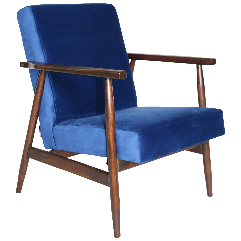 Superbe Polish Vintage Armchairs In Blue Velvet From 1970s For Sale