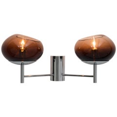 Donghia Renaldo Two-Arm Sconce, Murano Glass in Cognac and Chrome