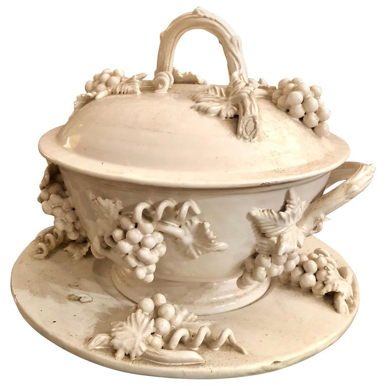 19th Century Soup Porcelain Tureen, Paris Lidded Grapes , France