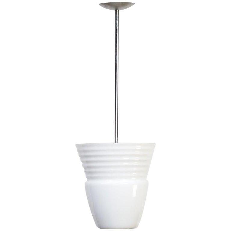 1970s Opaline Pendant Hanging Lamp for Artemide