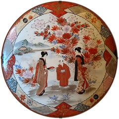 Antique Japanese Kutani Hand-Painted Porcelain Charger