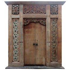 19th Century Large Indian Main Door with Detailed Hand-Carved Side Panels