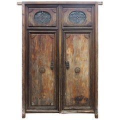 19th Century Anadalusian Hand-Carved Wooden Main Door