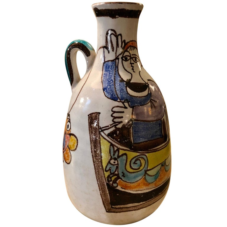 Ceramic Vase 1960s De Simone Bottle, Sicily