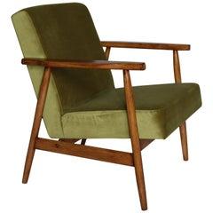 Polish Vintage Armchair in Green Made Velvet from 1970s