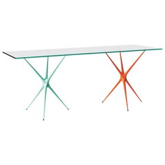 'Supernova' Recycled Cast Aluminum Trestle Table Legs & Glass Top Mixed Colours