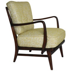 Art Deco Armchair in Yellow Natural Fabric from 20th Century