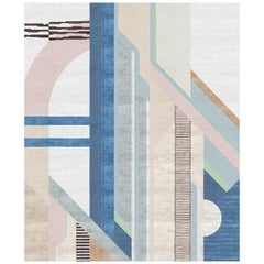 X Contemporary Pale Rose and Sapphire Blue 8x10 Rug by Angelina Askeri
