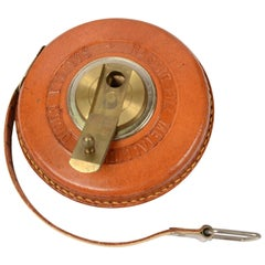 Metric Tape in Metal Box Covered with Leather Italian Manufacture of the 1950s