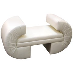 Milo Baughman for Thayer Coggin Post-Modern White Leatherette Bench