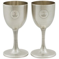 1869 Antique Victorian Sterling Silver Wine Goblets