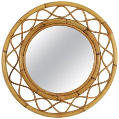 Jean Royère Style French Riviera Bamboo and Rattan Round Mirror, France, 1960s