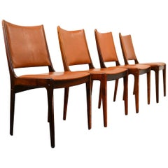 Vintage Johannes Andersen Palisander/Leather Dining Chairs, Set of Four