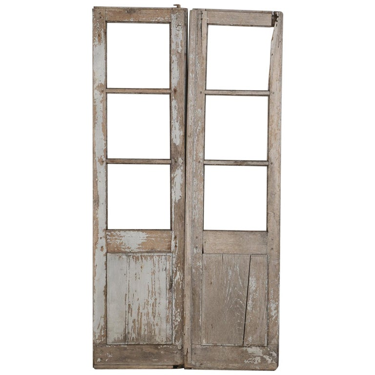 Pair of Antique French Doors in Original Paint and Great Hardware