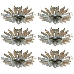 Set of Six Star Molded Glass Light Fixture,  Sold individually