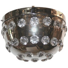 Set of Six Nickel Plated Flush Mounted Light Fixtures