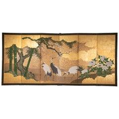 Japanese Edo Period Screen Depicting Cranes