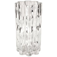 Orrefors Mid-Century Modern Undulated Glass Vase