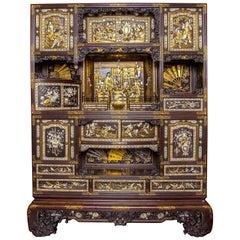 Rare Meiji Period Japanese Lacquer Cabinet