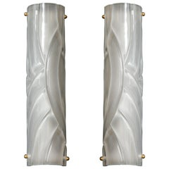 Pair of Midcentury Translucent White Murano Glass and Brass Sconces, Italy