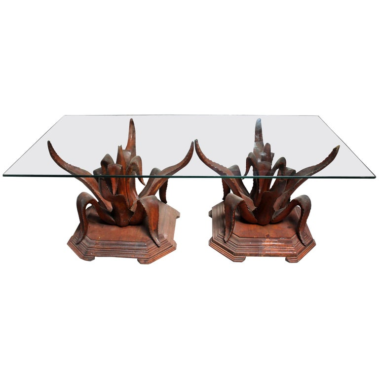 1970s Pair of Hand-Carved Coffee Table Wooden Bases
