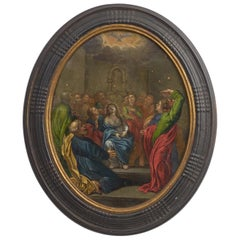 "17th Century Oval Painting ""Pentecost"" Painting"