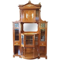 Exhibition Quality Late 19th Century Swiss Satinwood Salon Cabinet