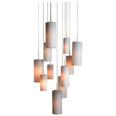 Opaline Suspension Chandelier by Philips, circa 1960