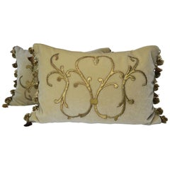 Gold Metallic Applique Cream Mohair Pillows, Pair