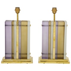 Pair of White, Smoke and Lavender Murano Glass Block and Brass Lamps, Italy