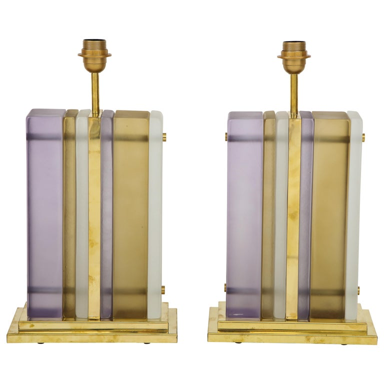 Pair of White, Smoke and Lavender Murano Glass Block and Brass Lamps, Italy For Sale