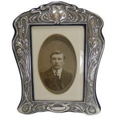 Outstanding English Sterling Silver Art Nouveau Photograph Frame, 1903