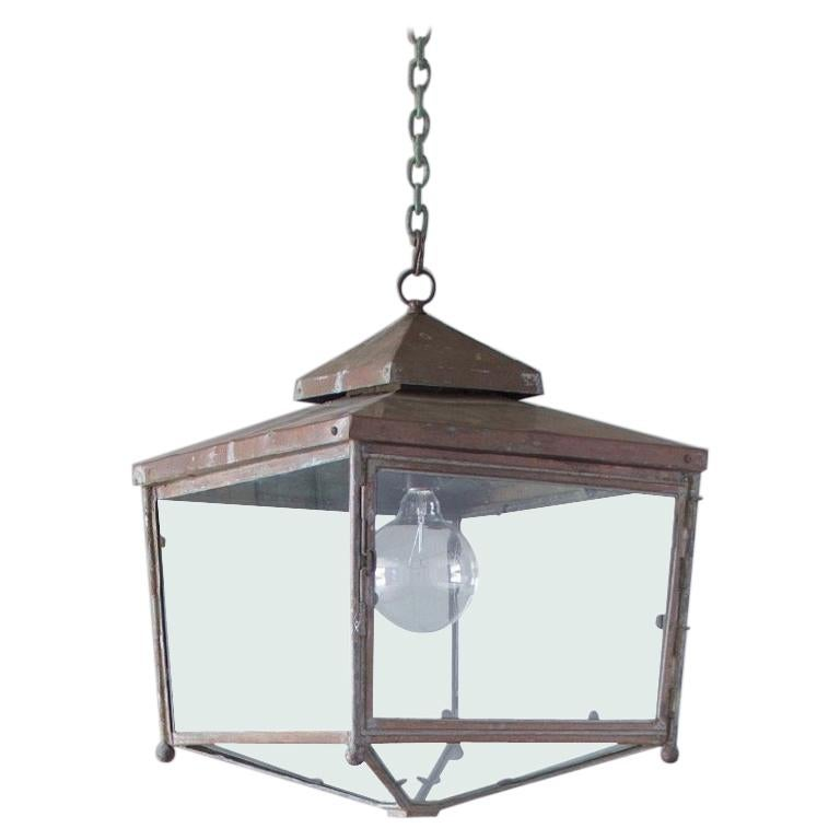 Large Square Copper Lantern For