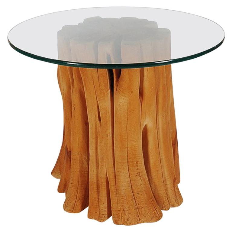 Organic Mid Century Modern Cypress Wood And Round Glass Dining Table For