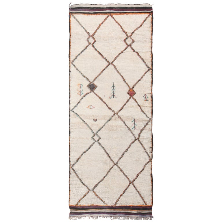 Wide Hallway Vintage Moroccan Rug For Sale at 1stdibs