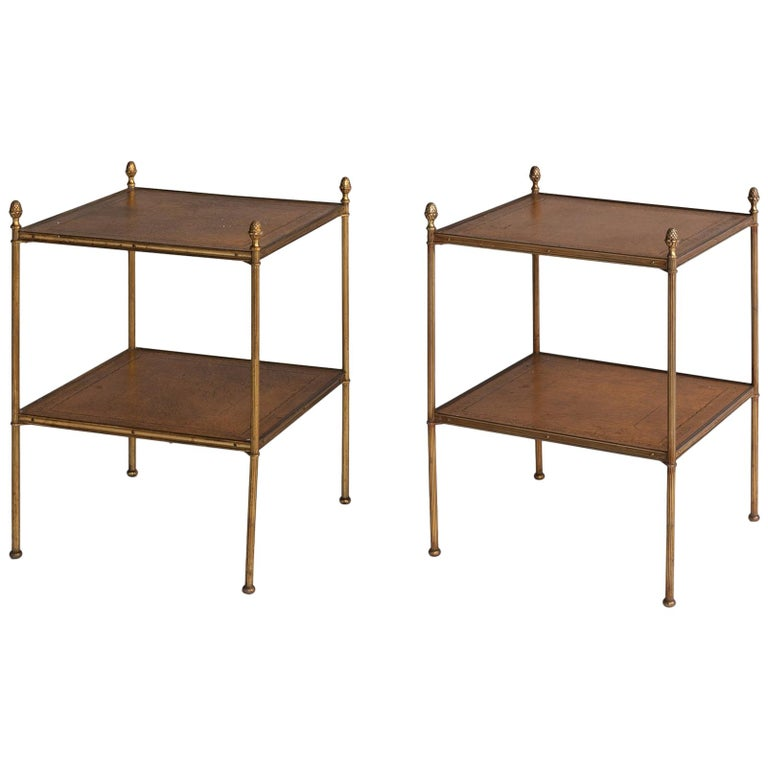 Pair of Brass and Leather End Tables, circa 1930