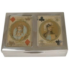 Antique English Sterling Silver Playing Card Box, 1899