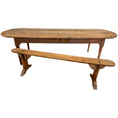 Antique Oak Refectory Table With Coin Slot and Bench
