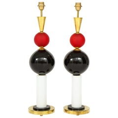 Unique Pair of Tall Red, White and Black Murano Glass and Brass Lamps, Italy