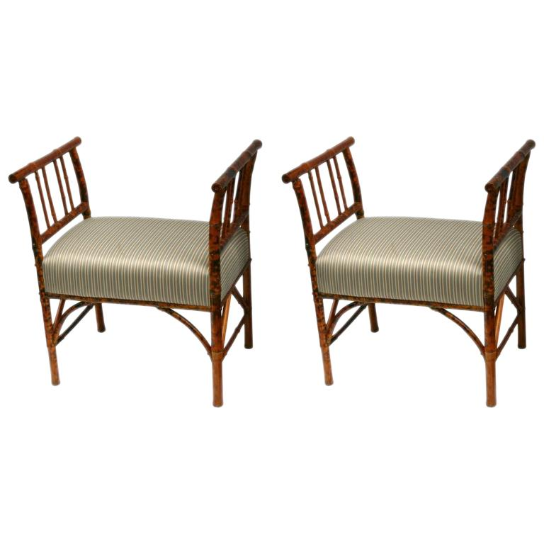 Pair of Bamboo Benches