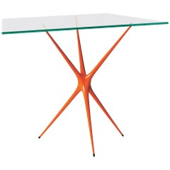 'Supernova' Recycled Cast Aluminum Trestle Table Leg in Orange - In Stock