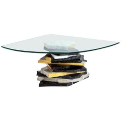 FOUND Coffee Table with Glass Top and Marble Base with Golf Leaf Detail