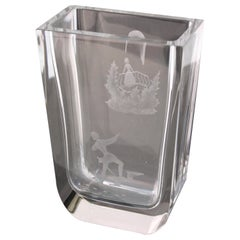 Mid-Century Modern Glass Vase with Etched Romeo and Juliet Balcony Scene
