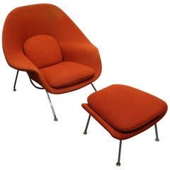 Vintage Knoll Eero Saarinen Womb Chair and Ottoman Set, circa 1960s