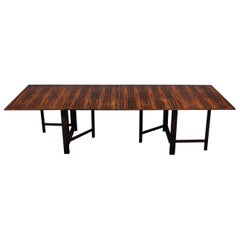 "Bruno Mathsson ""Maria"" Expandable Modern Brazilian Rosewood Dining Table"